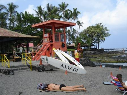 Life guards at Kahaluu beach in Kona